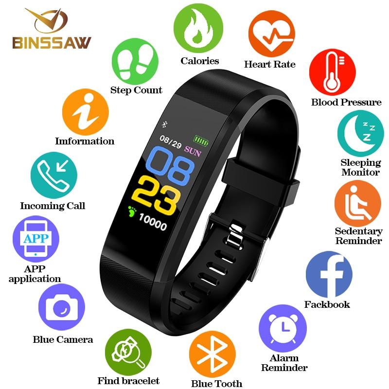 BINSSAW Smart Montre Hommes Femmes Montre-Bracelet Montre de Sport Fitness tracker Podomètre Fréquence Cardiaque Moniteur de Pression Artérielle LED SmartWatch