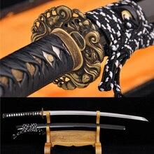 Handforged Folded DAMASCUS Steel Blade Japanese Samurai Carp Tsuba Sword Katana
