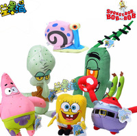 Cartoon Figures SpongeBob Patrick Eugene H Krabs Sheldon J Plankton Squidward Tentacles Gary Plush Toy Birthday