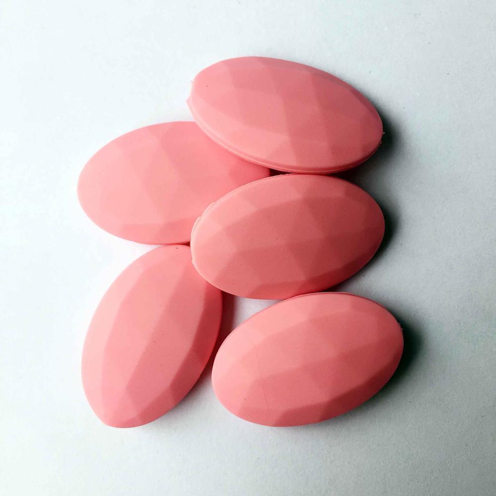 50 шт./лот плоские овальные свободные силиконовые Бусины для прорезывания зубов Цепочки и ожерелья силиконовые свободные Бусины для маленьких прорезыватель BPA бесплатно 19 цвет - Цвет: Розовый
