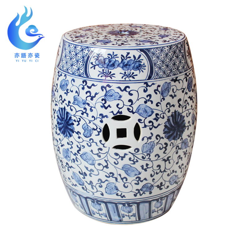 Jingdezhen hand-painted blue and white porcelain antique dressing stool neoclassical drum stool porcelain pier living room study(China)