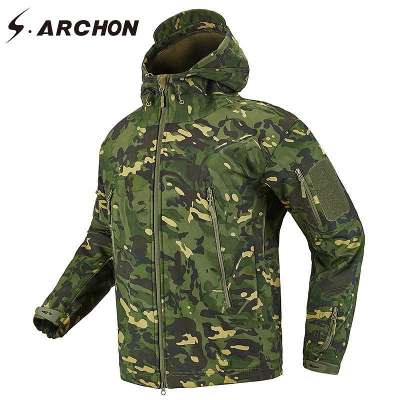 S. ARCHON Haai Huid Soft Shell Tactische Militaire Jas Mannen Fleece Waterdichte Leger Kleding Multicam Camouflage Windbreakers Mannen