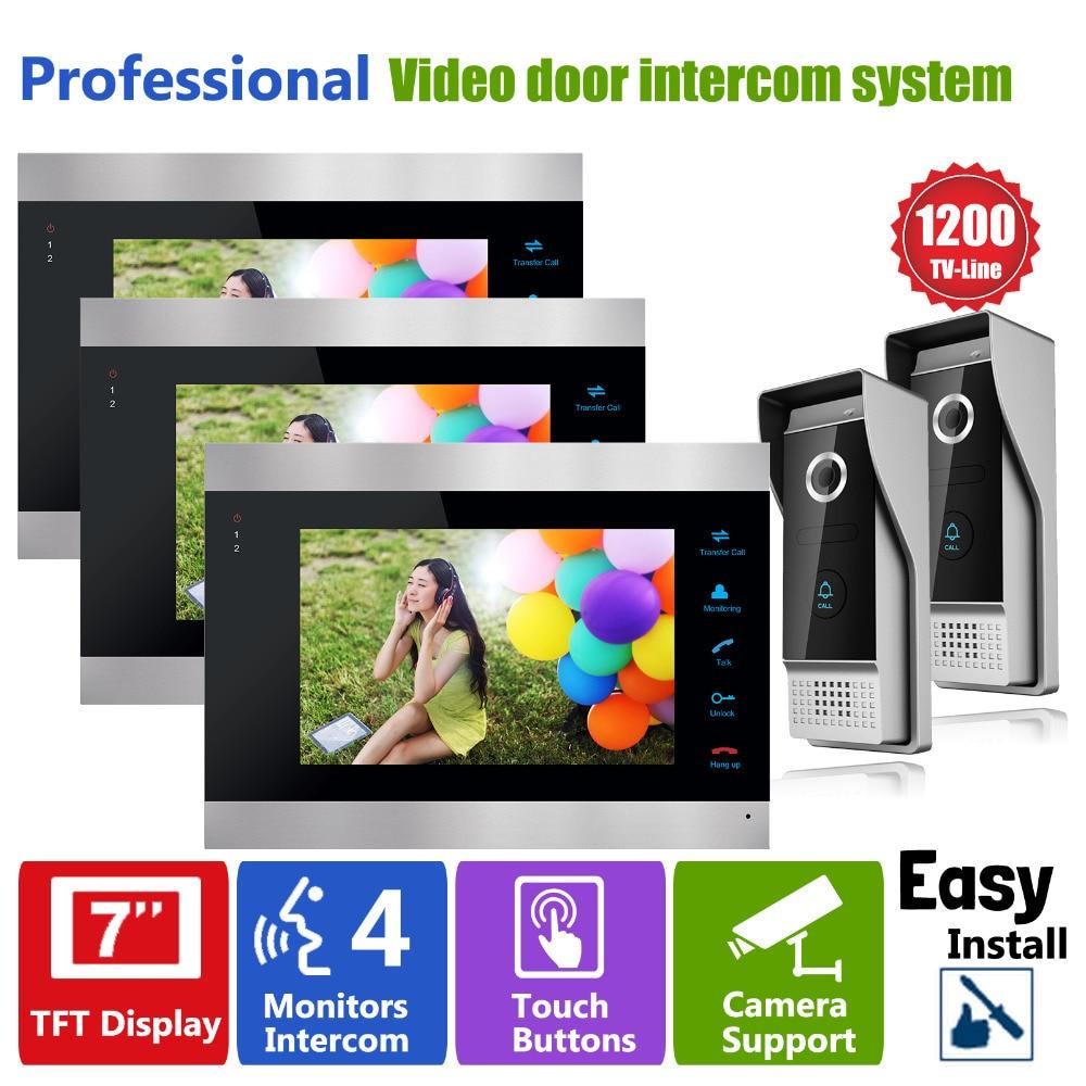 Homefong Video Door Phone Doorbell With Video Intercom Door Monitoring  System Door Camera 3 Indoor Units