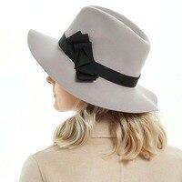 2018 New Pillbox Hat Women's Wide Brim Felt Bowler Fedora Hat Floppy Sun Bowknot Cloche Cap Women's Large Hat M85