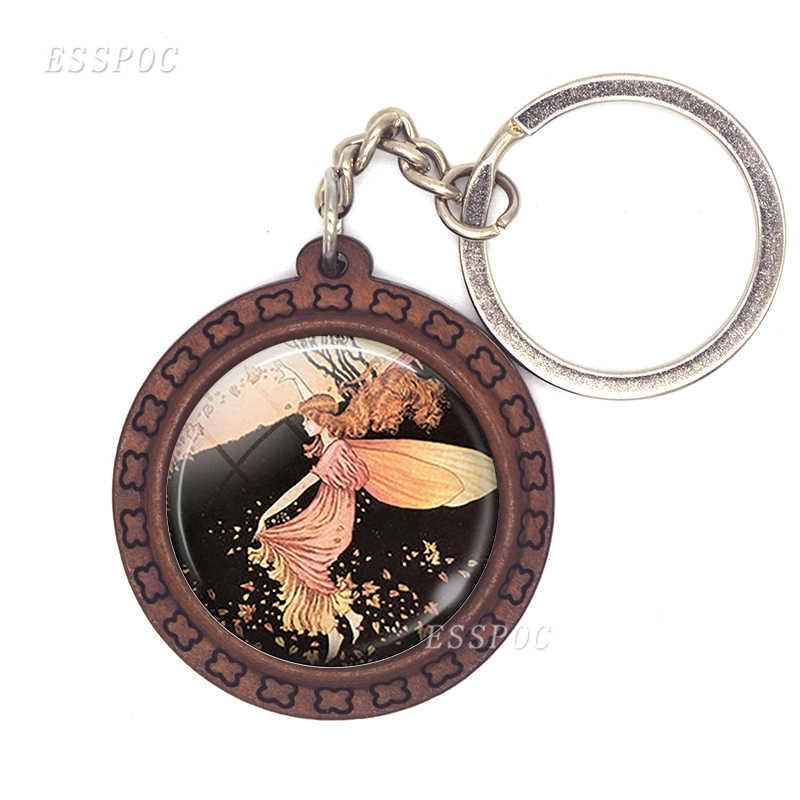 Fairytale Sereia Outono De Fadas de madeira chaveiro/anel chave