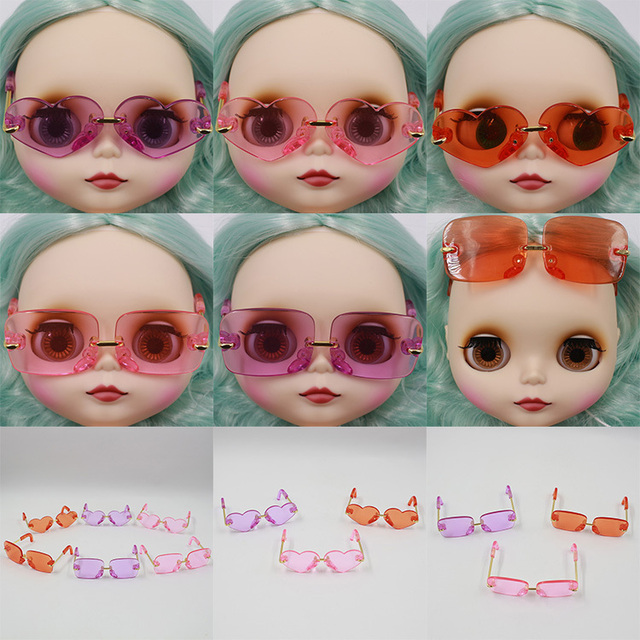 Neo Blythe Doll Heart & Boxes Shaped Glasses