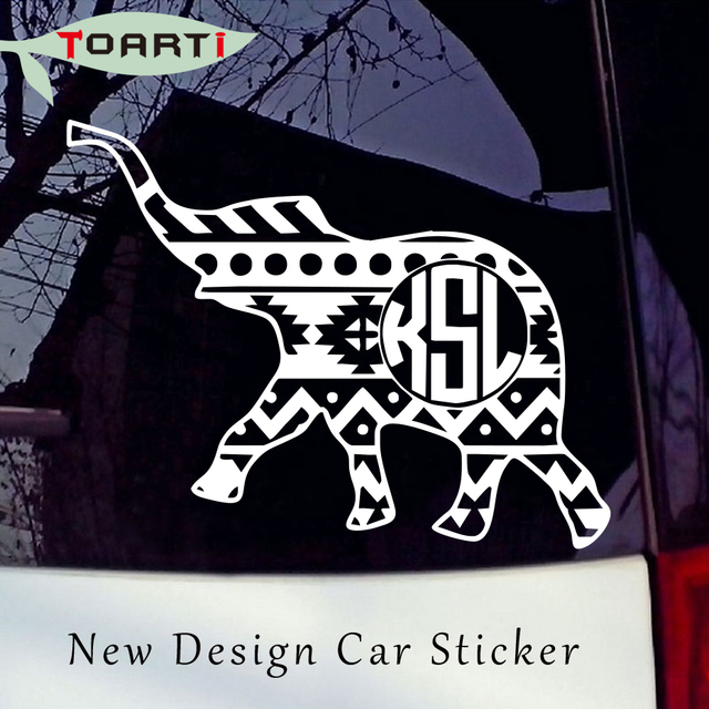 Monogram Initials Elephant Vinyl Sticker High Quality Diy Decal For Car Truck Laptop Creative Art Design Decorate Accessories In Car Stickers From