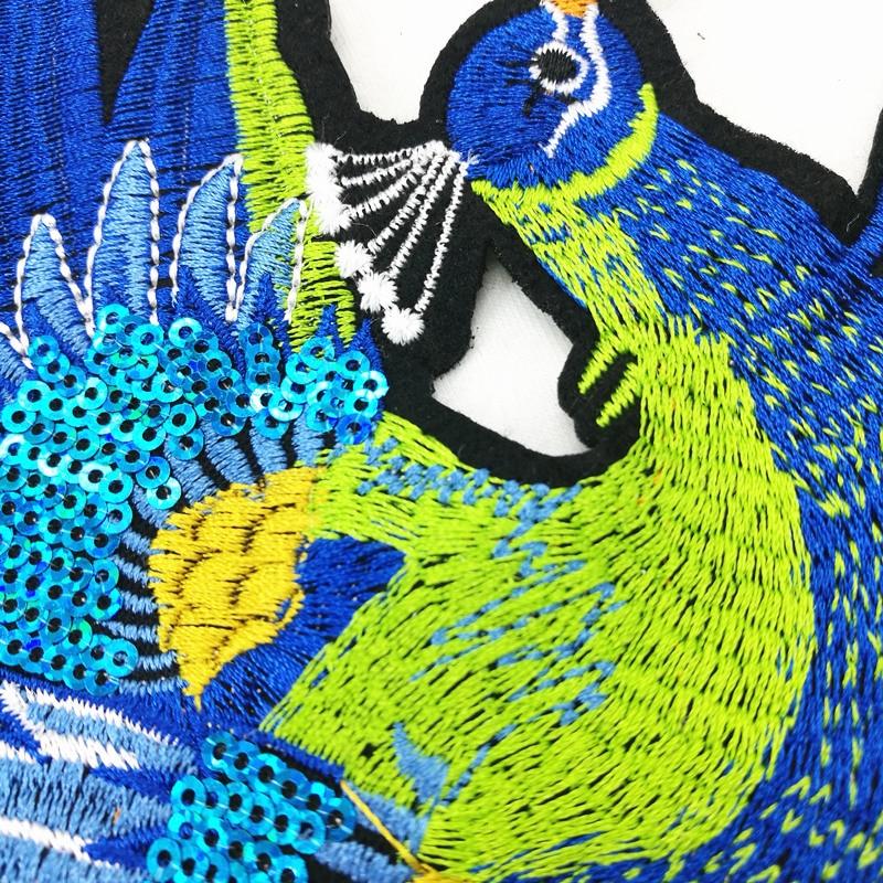 2 sztuk Peacock Sequined Łaty do Odzieży Szycia na phoenix odzieży - Sztuka, rękodzieło i szycie - Zdjęcie 4