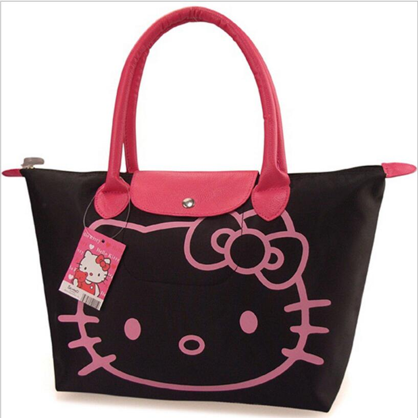 Promotions! Hello Kitty Bag Designer Waterproof Shoulder Bag Black Shopping Girl