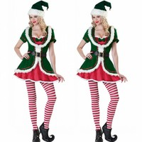 New Hot Christmas Cosplay Elf Costume Sexy Green And Red Dress Belt Headwear For Adult Women Uniform temptation Masquerade