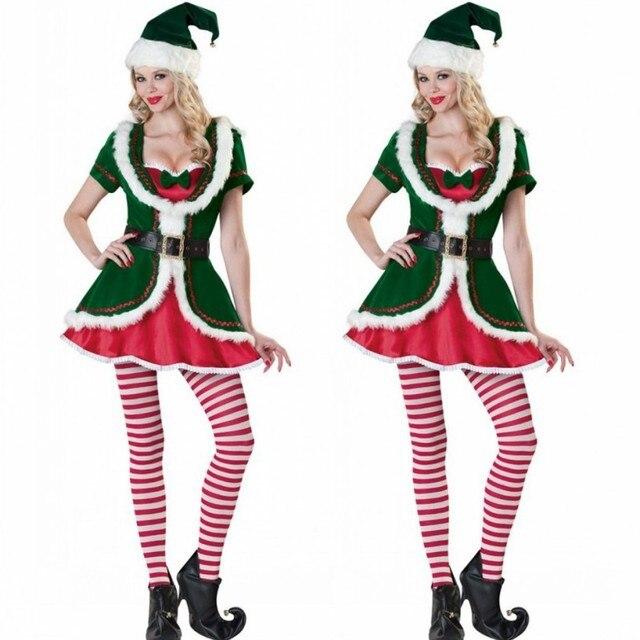 Nuovo Caldo Di Natale Cosplay Costume da Elfo Sexy Verde E Rosso della  Cinghia Vestito Copricapi 763ea0bfee4