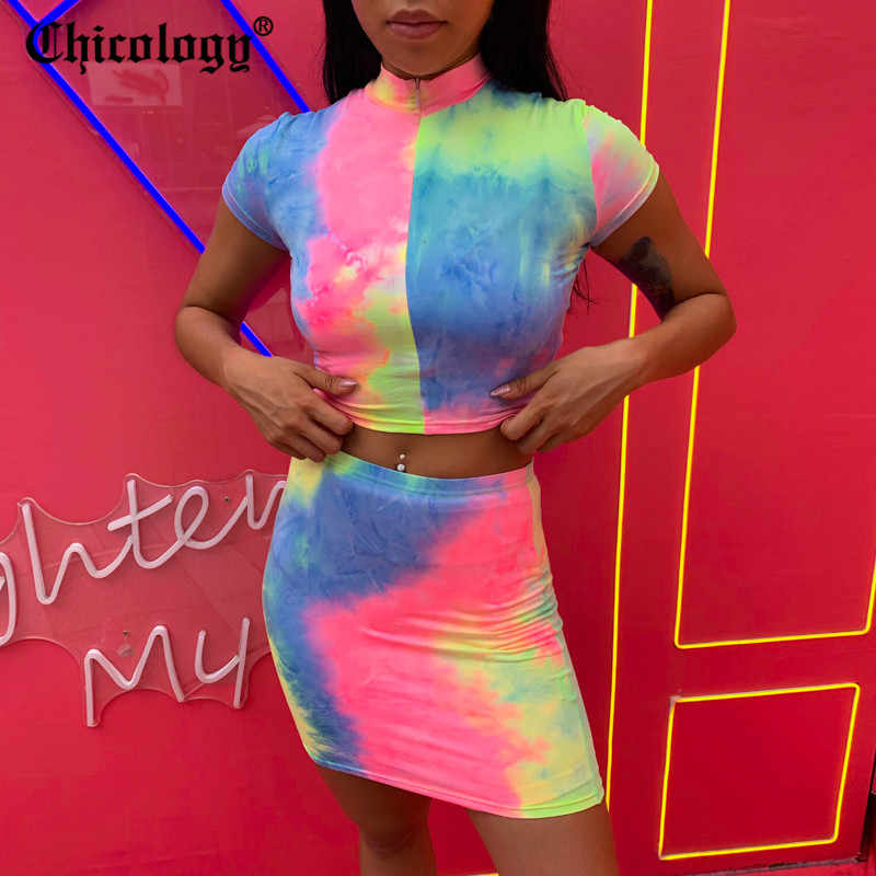 Chicology tie dye krótki top koszulka z krótkim rękawem wysokiej talii bodycon mini spódnica 2 dwuczęściowy zestaw 2019 lato sexy kobiety odzież