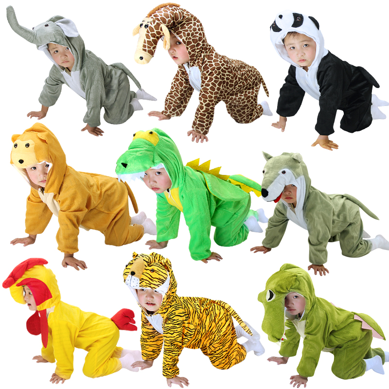 Hot Children Kids Animal Cosplay Costume Dinosaur Tiger Elephant Holiday Halloween Animals Jumpsuit For Boy Girl Dress Up