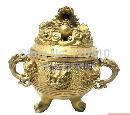 Bronze statue copper carving three legged incense burner incense stove stove burner top burner pc stove mat - title=