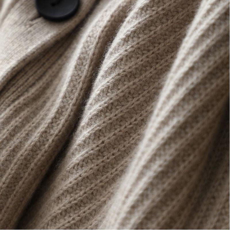 Cachemire Pur Tricots À gray Cou Cardigans Manches Feminino Femmes Et 100 Chandail Épais Brown Longues V 2018 Cardigan ivory Manteaux IqgtwAw