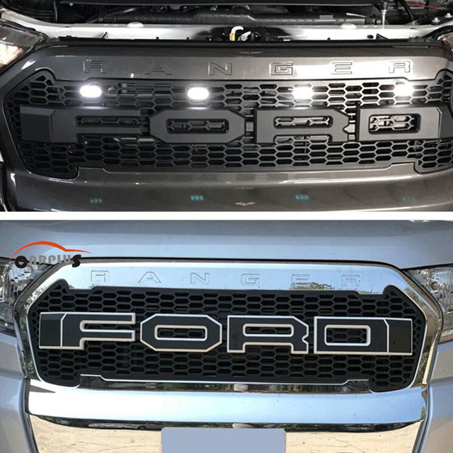 New Car Stlying Grill For Ford Ranger 2015 2017 Abs Front Grill