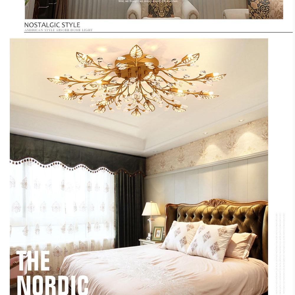 HTB17RLFeu7JL1JjSZFKq6A4KXXas Modern Flush Mount Home Gold Black LED K9 Crystal Ceiling Chandelier Lights Fixture for Living Room Bedroom Kitchen Lamps