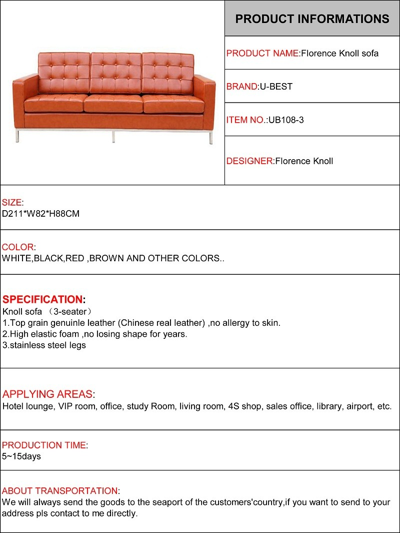 florence knoll sofa 3 seater real leather sofa-1