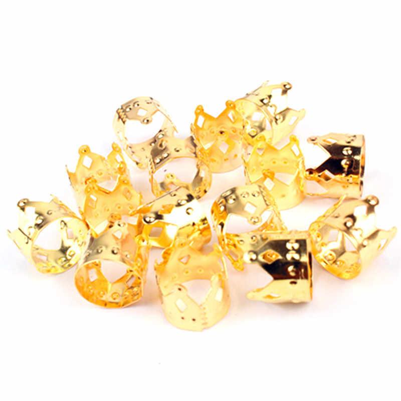Goud, zilver Metalen Haar Vlecht Kroon Holle Design Verstelbare Haar Manchetten Clips Ring Buis Zilver Goud Haar Sieraden 20Pcs