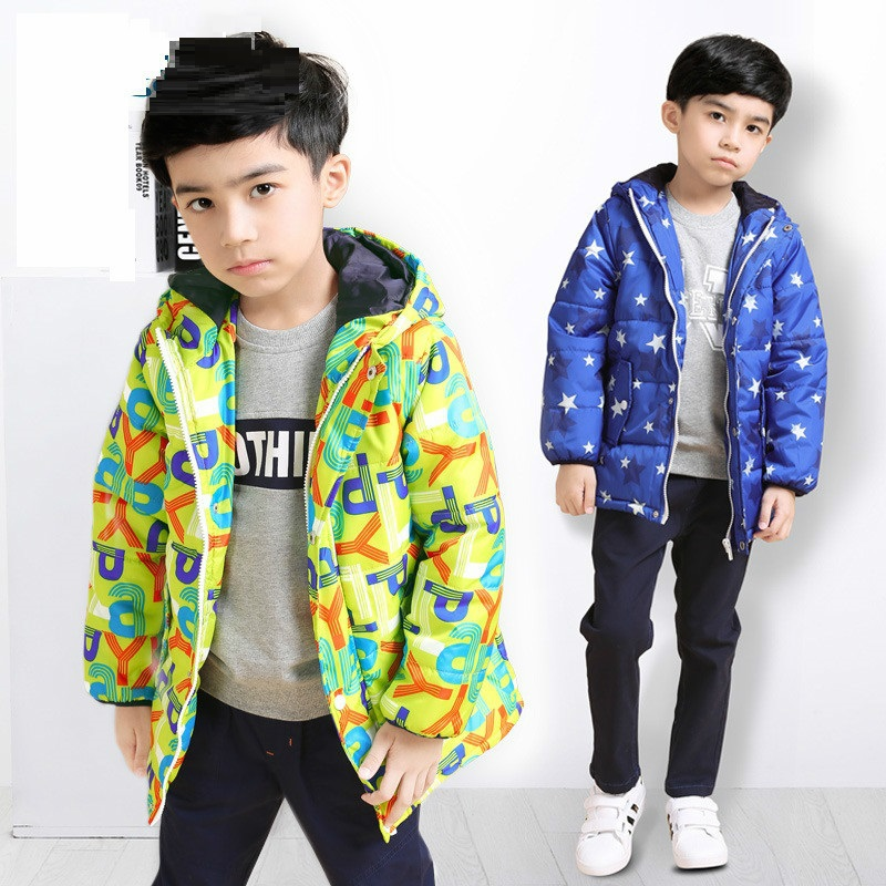 Printing Boy cotton-padded winter jacket new 2017 winter coat for 120-170cm tall boy free shipping kids clothes dakine tall boy