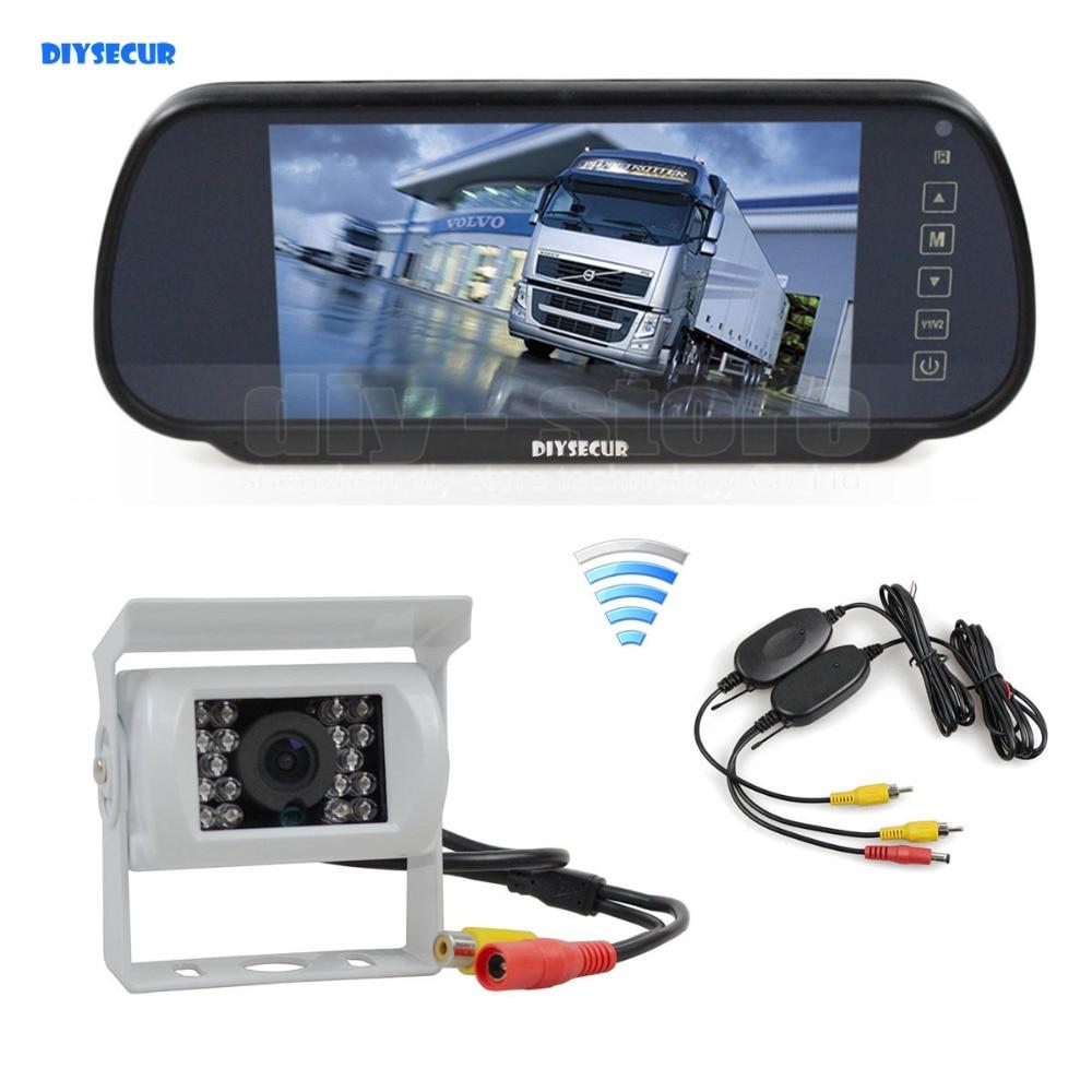 DIYSECUR Wireless 12VDC 7inch HD Mirror Monitor Car Monitor Waterproof CCD Rear View Car Camera White for Truck Caravan Bus Van все цены