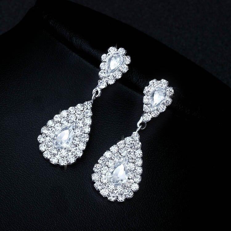 (3) - Bijoux De Mariage Luxueux, Goutte Boucle D'oreille Collier Ensemble Autriche Cristal,