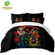 Bohemia Couples Skeleton Bedding Set Flowers Colorful Duvet Cover King Queen Bed Pillowcase Soft Bedclothes Home Decor D40
