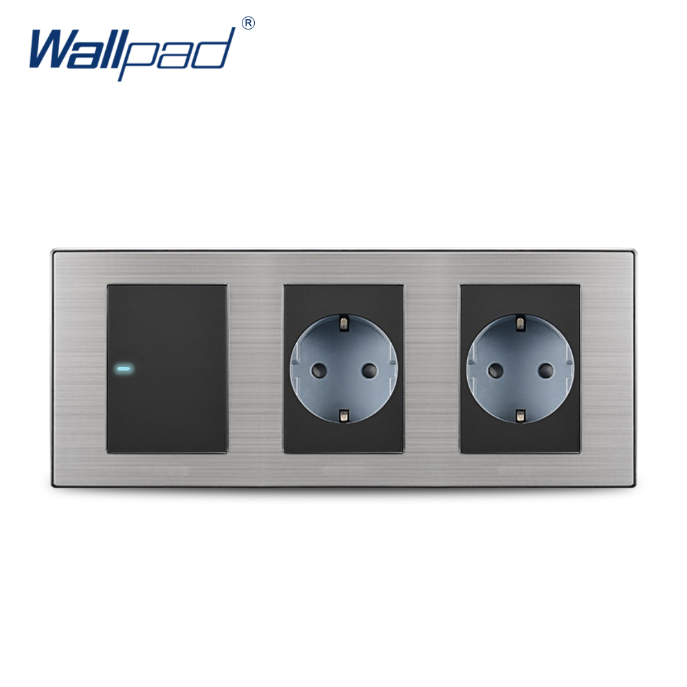 цена на 2018 Wallpad Hot Sale 1 Gang 2 Way Switch With 2 EU Socket Schuko Luxury Wall Electric Power Outlet German Standard 234*86mm