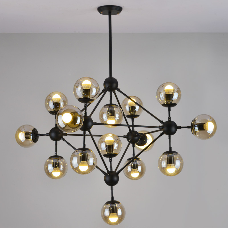Nordic Art Deco Glass Ball Magic Beans Pendant Light DNA Lustres Wrought Iron Industrial Cafe Loft Pendant Hanging Lamp E27 Bulb