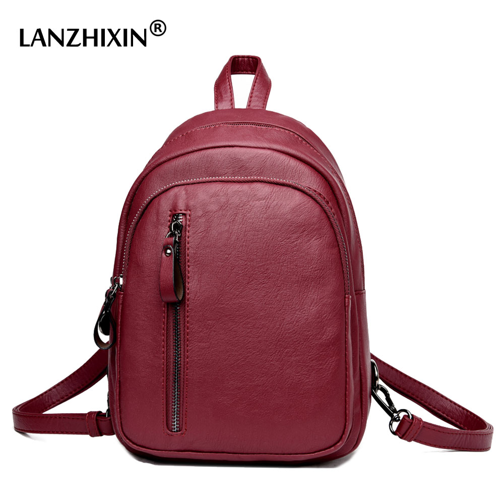 Lanzhixin Famous Brand Backpacks Women Backpacks Solid Vintage School Bags for Girls Black Leather Backpack High