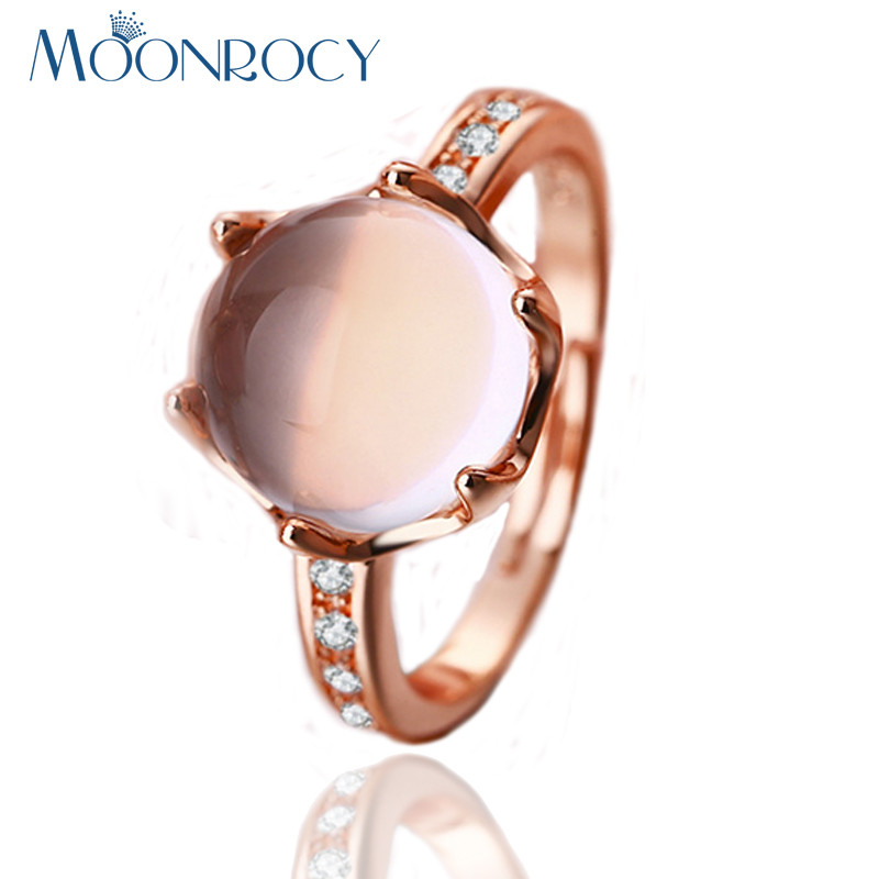 MOONROCY Free Shipping Rose Gold Color CZ Sweet Ross Quartz Crystal Pink Opal Rings Jewelry Wholesale for Women Girls Gift
