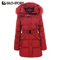 GLO STORY Women Fashion Winter Hooded Jacket Thicken Long Outwear Red Fur Collar Coats Female Slim