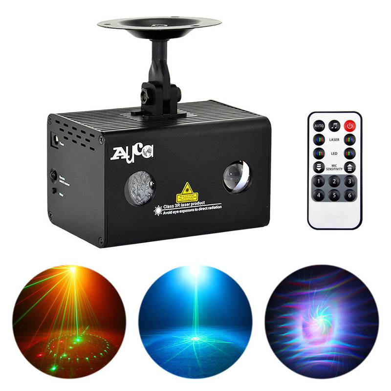 AUCD Mini 9 Gobos RG Laser Light Aurora RGB LED Water Galaxy Projector Sound AUTO Stage Lighting DJ Xmas Home Party Show LL 09RG