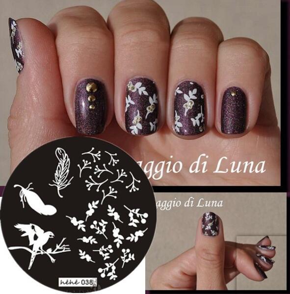 2018 Novo estilo de Unhas Stamp Art Stamping Template Placa Pássaro no Ramo de Folhas Cereja Nail Art Stamp Template Imagem Placa # hehe038 #