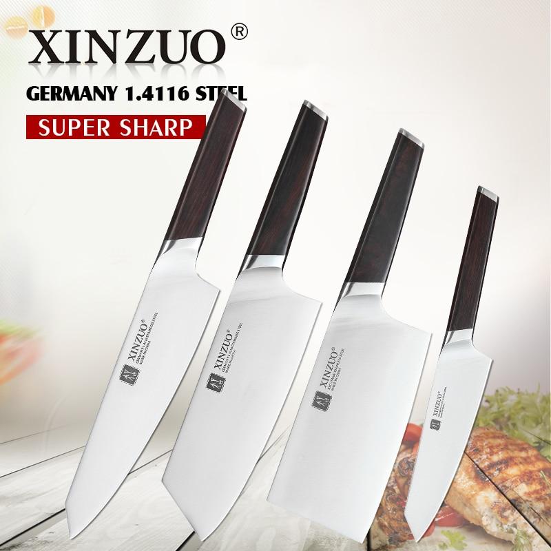 WALLOP Professional Cooking Kitchen Knives Set 4pcs Chef Santoku Meat Cleaver
