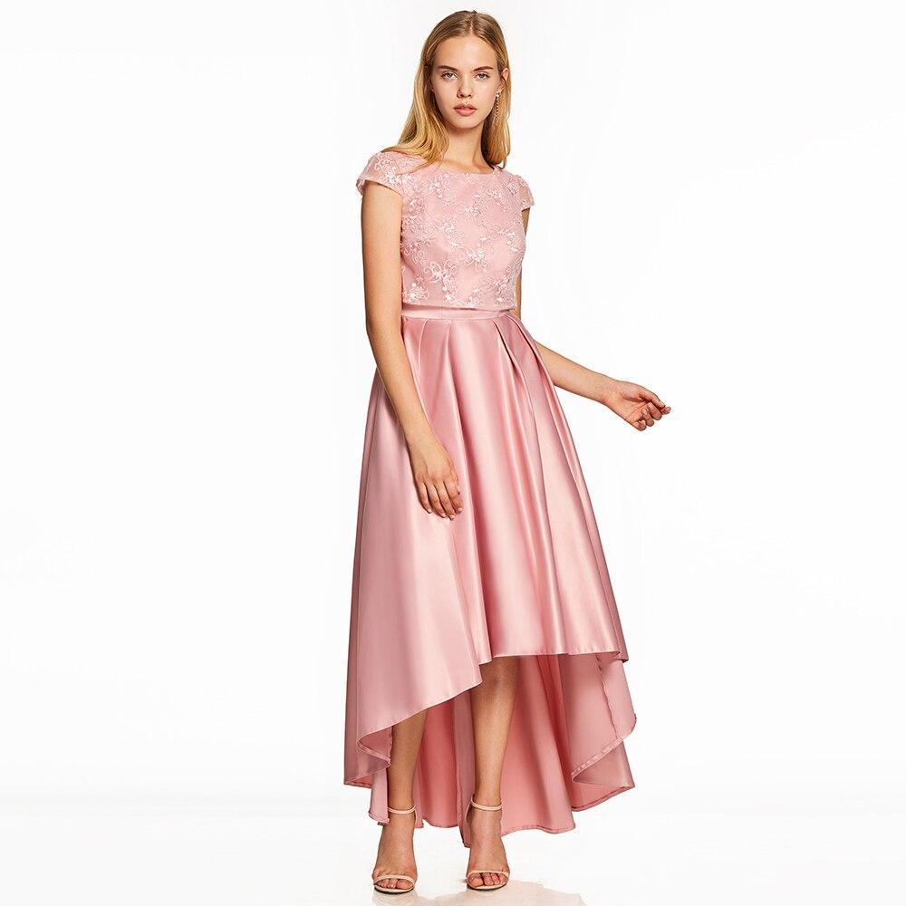 Dressv Rosa una línea vestido barato elegante muestra cuello scoop ...