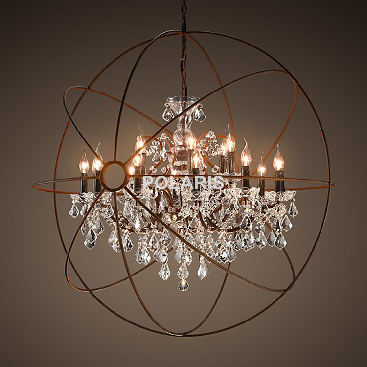 buy modern vintage orb crystal chandelier lighting rh rustic candle chandeliers led pendant hanging light for home hotel decoration from