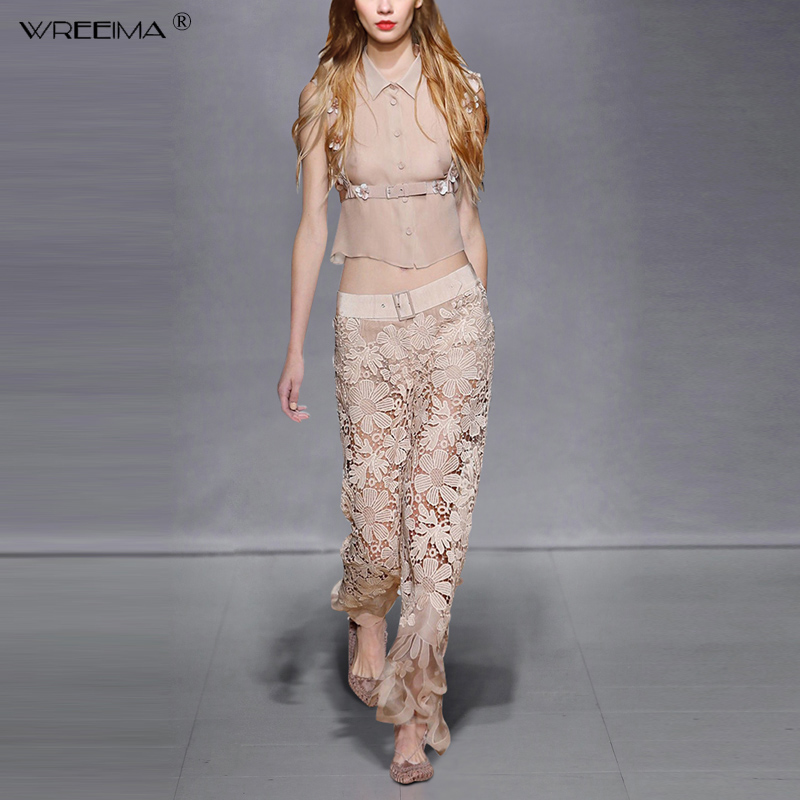 2019 Summer Women New Fashion Streetwear Sleeveness Short Shirt and Lace Embroidery Flowers Pants Suits Sets Sashes Button
