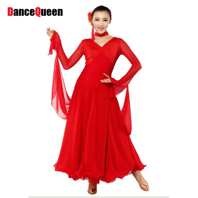 Standard Ballroom Dress Black Red Ballroom Dancing Dresses China 2018 New  Dancer Singer Costumes Free Shipping 669497f6a