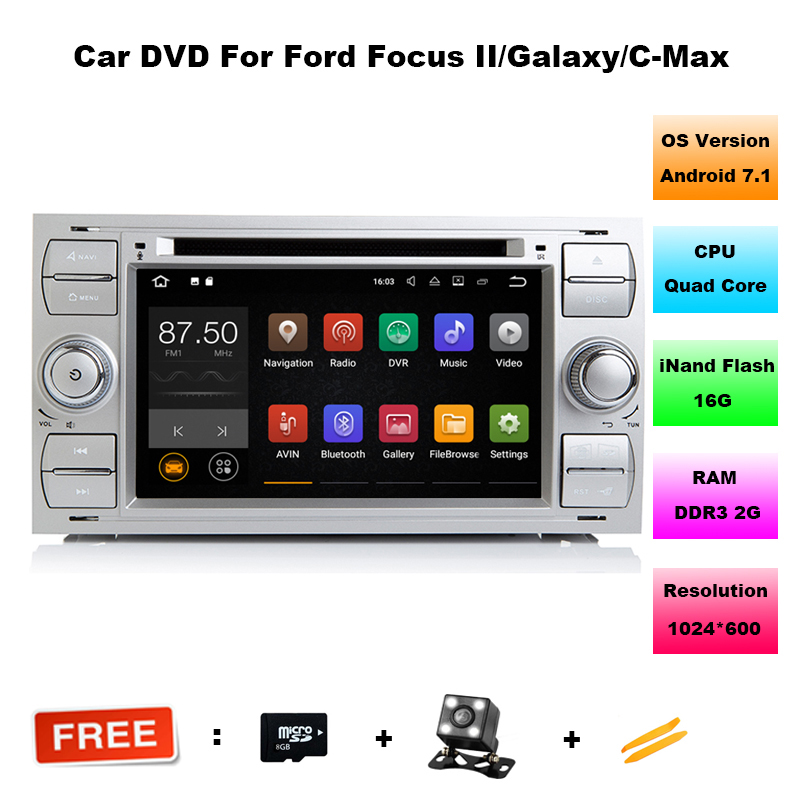 Android 7.1 Car DVD GPS Player For Ford Fiesta Focus C-max Galaxy Mondeo Transit Quad Core 2GB RAM 16GB ROM Radio BT Wifi DAB+