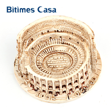 Bitimes Architecture Miniature Resin Figurines Roman Colosseum Statue Landmark Building Ornament Retro Home Decor