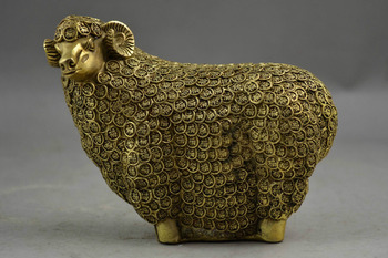 Metal Crafts Handwork Copper Carve Ten Thousand Blessing Sheep Rare Auspicious Statue fast shipping