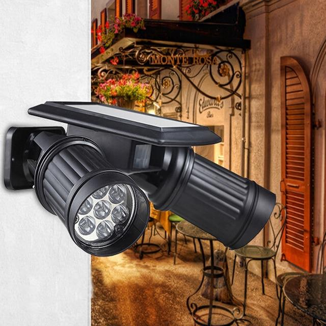 2017 New Solar LED Spotlights Double Head Human Body Induction Sensor Light Wall Garage Garden Shops 14 LED Spotlights Lamp