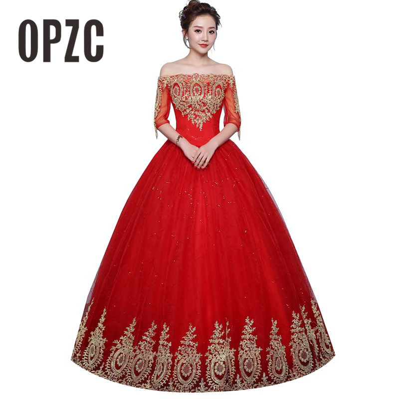 Vintage Ball Gown Boat Neck Wedding Dresses 2020 New Fashion Lace Half Sleeve Gold Appliques Customized Plus Size Bridal Dress
