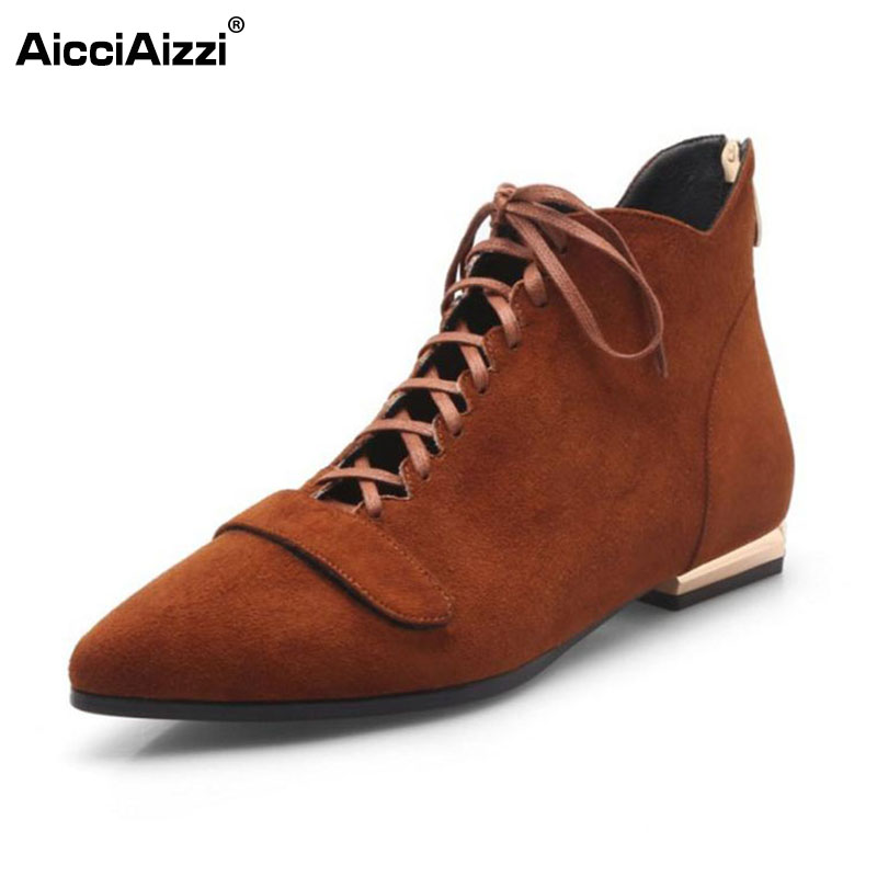 AicciAizzi Size 34-42 Women Real Leather Flats Boots Zipper Cross Strap Ankel Boots With Fur In Winter Shoes Warm Botas Footwear corporate real estate management in tanzania