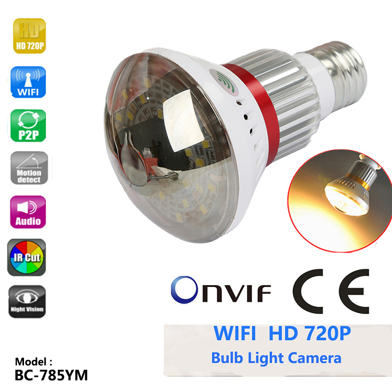 785YM Home Mirror Bulb Camera HD 720P WiFi IP Network DVR Camera Support Motion Dection Email Alert Night Vision Support ONVIf eazzy bc 688 bulb cctv security dvr camera auto control light and recording motion dection night vision circular storage