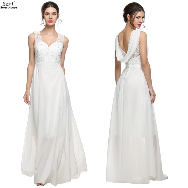 e6eadde33d Sexy Dress Women vestidos 2017 Fashion White Evening Long Maxi Dress V Neck  Backless Beaded Lace Patchwork Chiffon Party Dresses