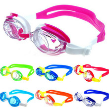 Красочные регулируемые дети Дети водонепроницаемый силиконовый анти туман УФ щит Очки для плавания очки с коробкой