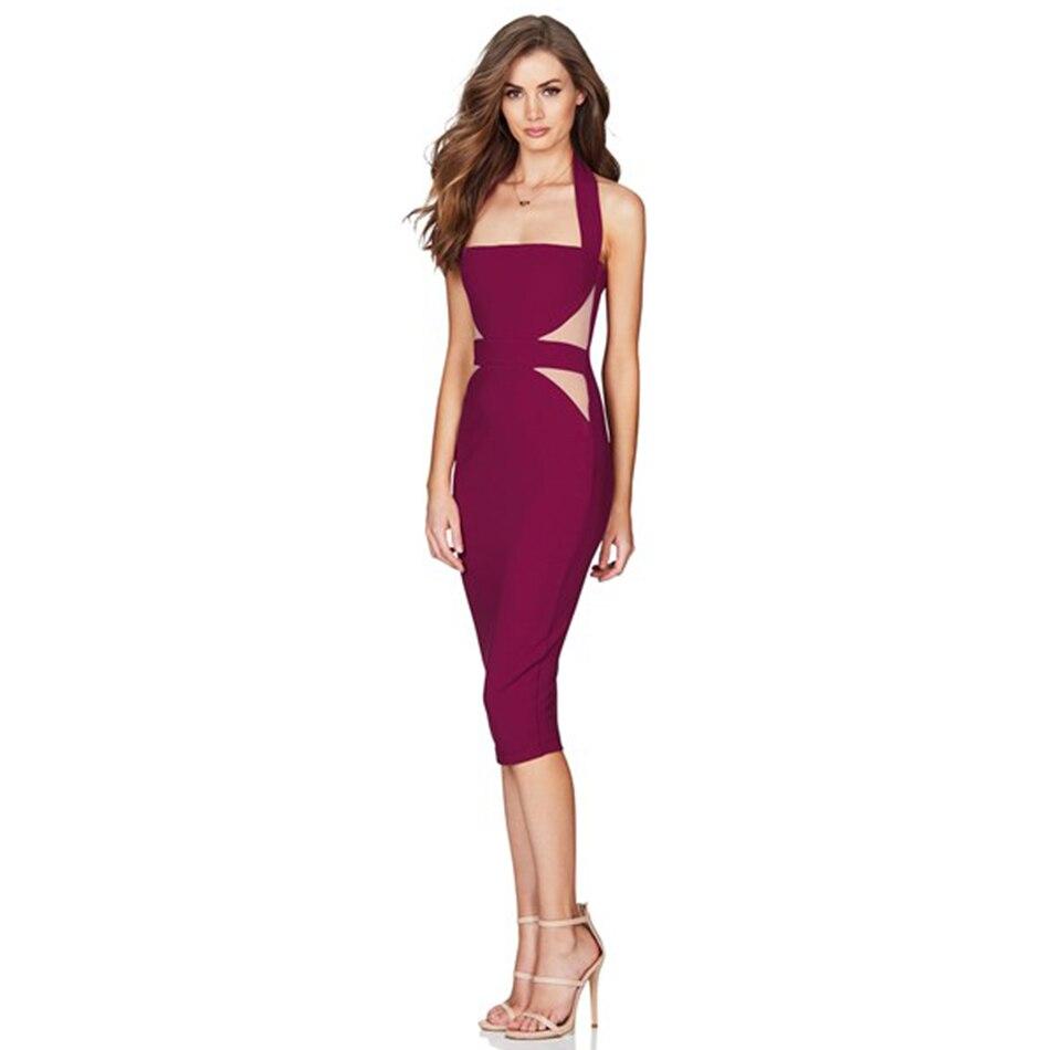 DressBird 2019 femmes robes d'été Bandage moulante Vestidos Sexy licou sans bretelles dos nu Clubwear robes Vestidos
