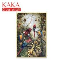 Kreuz stich kits, Stickerei hand sets mit gedruckt muster, 11CT canvas für Wohnkultur Malerei, Tiere Volle NCKA053